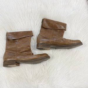 EDDIE BAUER Brown Leather Fold Over Boots SZ 9.5